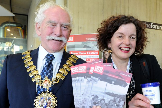 A picture of Ros Green, Festival Director with the Mayor of Southend (2016)