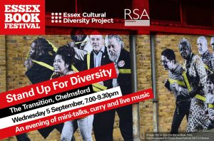 E-flyer for Stand Up For Diversity, showing a community mural by Polish Artist Jola as a backdrop.