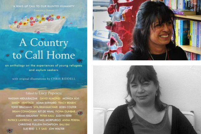 An image of authors Lucy Popescu and Sita Brahmachari, with the cover of the book, A Country to Call Home