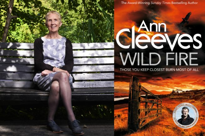 Photo of Ann Cleeves with her latest book cover