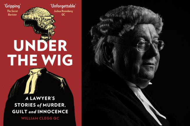 A photo of William Clegg QC and the cover of his new book, Under The Wig