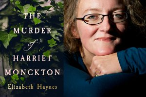 Image of author Elizabeth Haynes with the cover of her new book