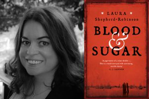 A picture of Laura Shepherd-Robinson with the cover of her new novel