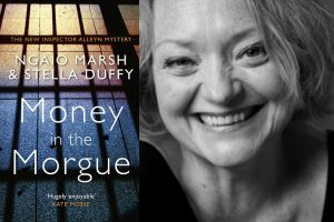 A photo of author Stella Duffy and the front cover of her book, Money in the Morgue