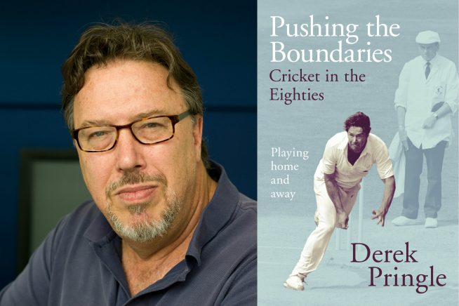 A photo of cricketer Derek Pringle and the cover of his new book