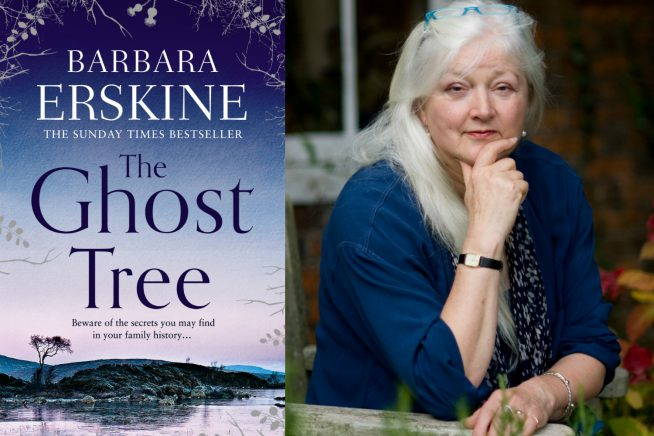 An image of author Barbara Erskine and the cover of her new book
