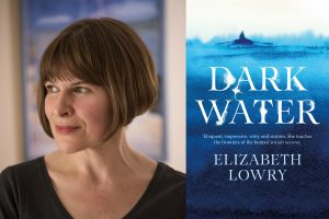 An image of the author and book cover