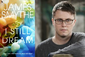 A photo of James Smythe with his new novel, I Still Dream